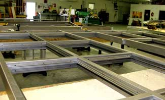 Storefront framing in warehouse